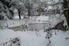 gefrorener Weiher mit viel Schnee